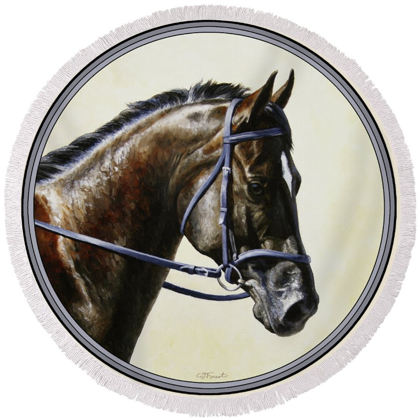Horse Round Beach Towel featuring the painting Dressage Horse - Concentration by Crista Forest