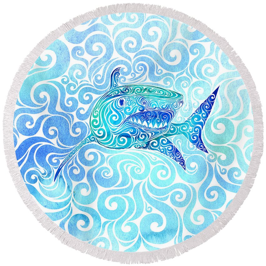 Swirly Round Beach Towel featuring the mixed media Swirly Shark by Carolina Matthes