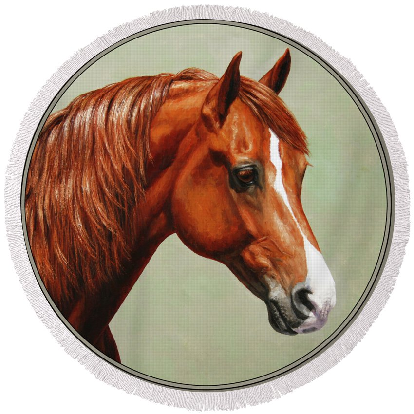 Horse Round Beach Towel featuring the painting Morgan Horse - Flame by Crista Forest