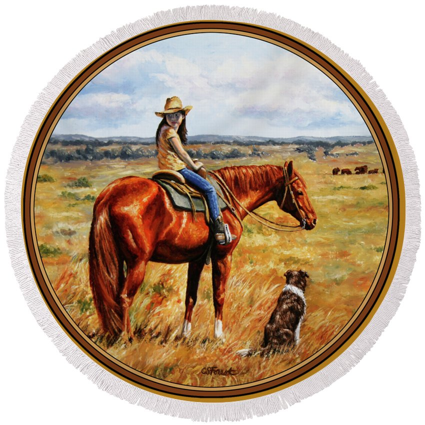 Western Round Beach Towel featuring the painting Horse Painting - Waiting For Dad by Crista Forest