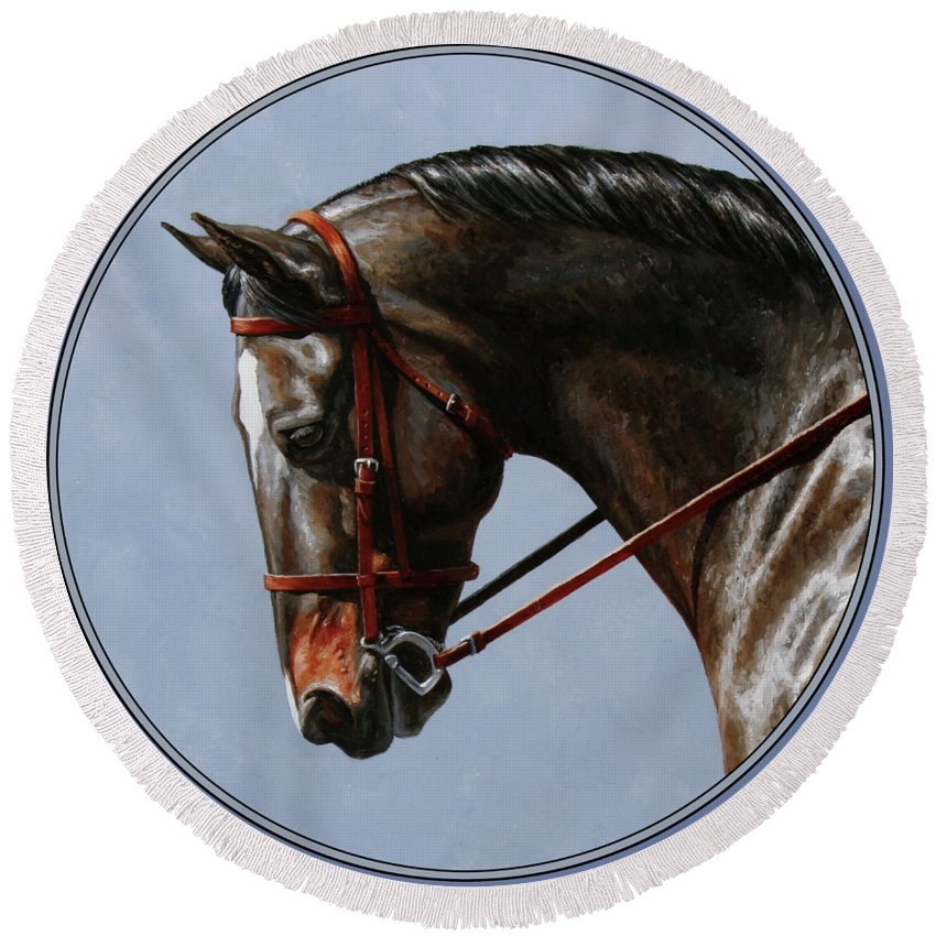Horse Round Beach Towel featuring the painting Horse Painting - Discipline by Crista Forest