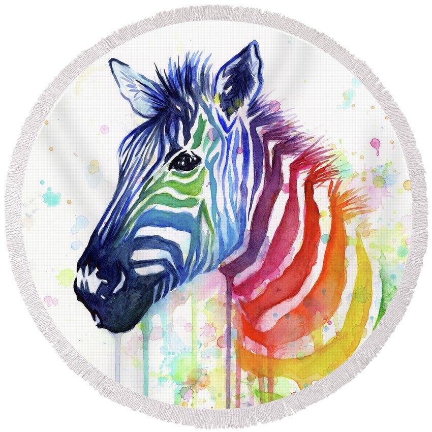 Rainbow Round Beach Towel featuring the painting Rainbow Zebra - Ode to Fruit Stripes by Olga Shvartsur