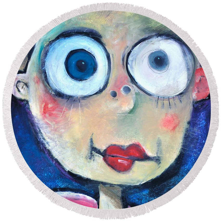 Child Round Beach Towel featuring the painting As A Child by Tim Nyberg