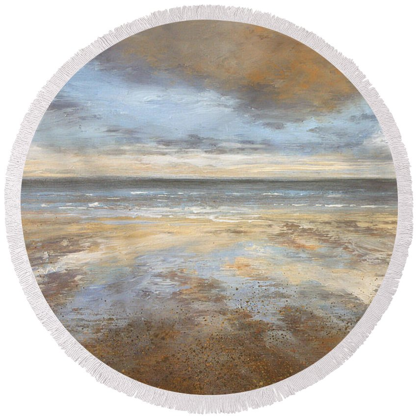 Seascape Round Beach Towel featuring the painting As Above, So Below by Valerie Travers