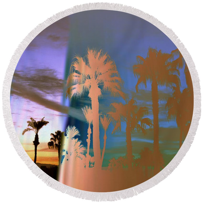 Fog. Palm Trees Round Beach Towel featuring the photograph As The Fog Lifts by Irma BACKELANT GALLERIES