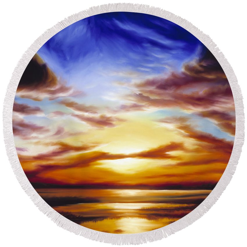 Skyscape Round Beach Towel featuring the painting As The Sun Sets by James Christopher Hill