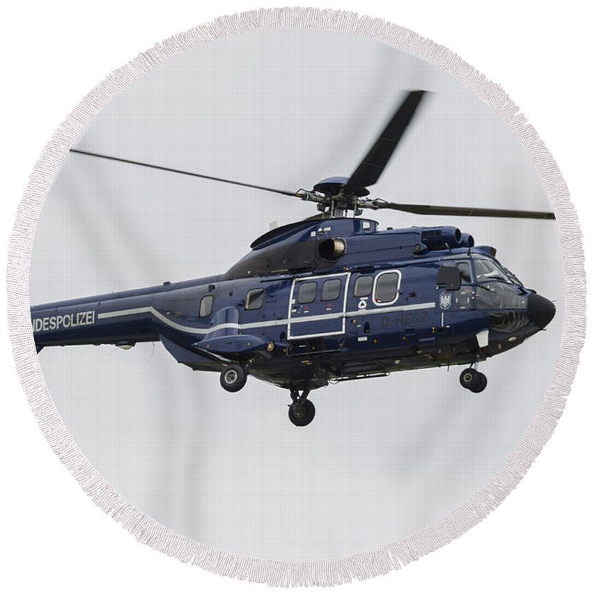 Horizontal Round Beach Towel featuring the photograph As332 Super Puma Helicopter by Timm Ziegenthaler