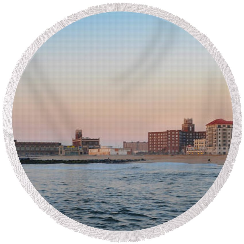 Asbury Round Beach Towel featuring the photograph Asbury Park Boardwalk From The Beach by Bill Cannon
