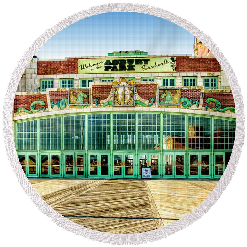 Recent Round Beach Towel featuring the photograph Asbury Park Convention Center Asbury Nj by Geraldine Scull