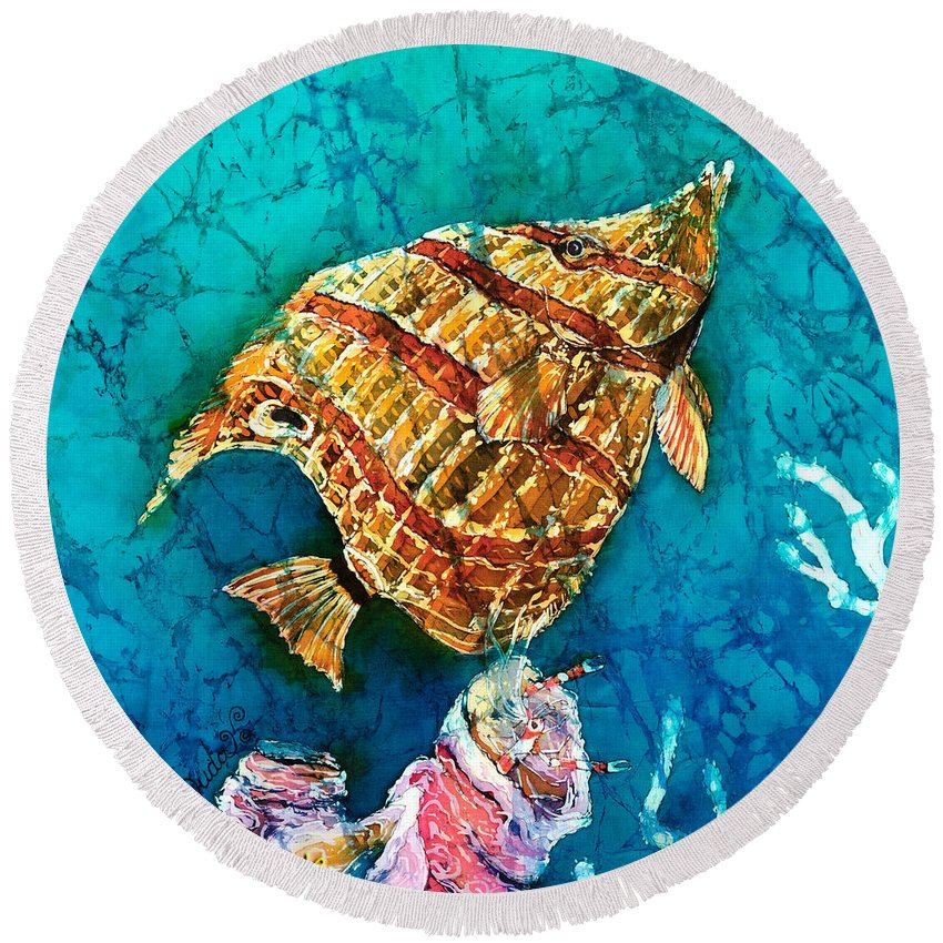 Beaked Butterflyfish Round Beach Towel featuring the painting Ascending by Sue Duda