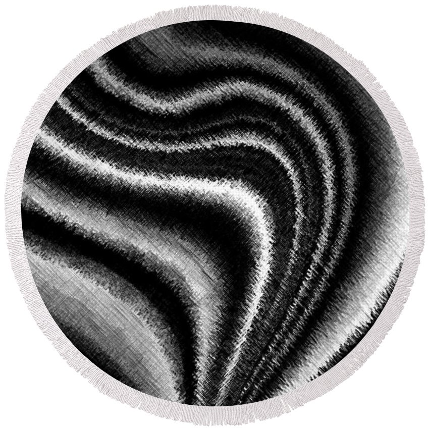 Black & White Round Beach Towel featuring the digital art Ascending by Will Borden