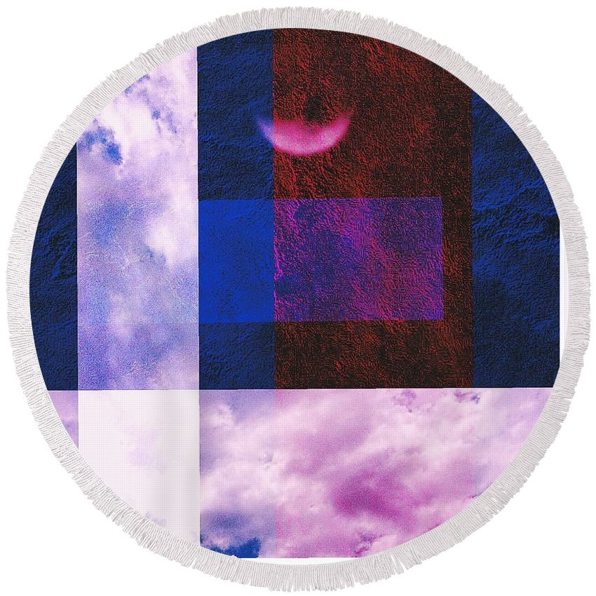 Abstract Round Beach Towel featuring the digital art Free Flow by Scott French
