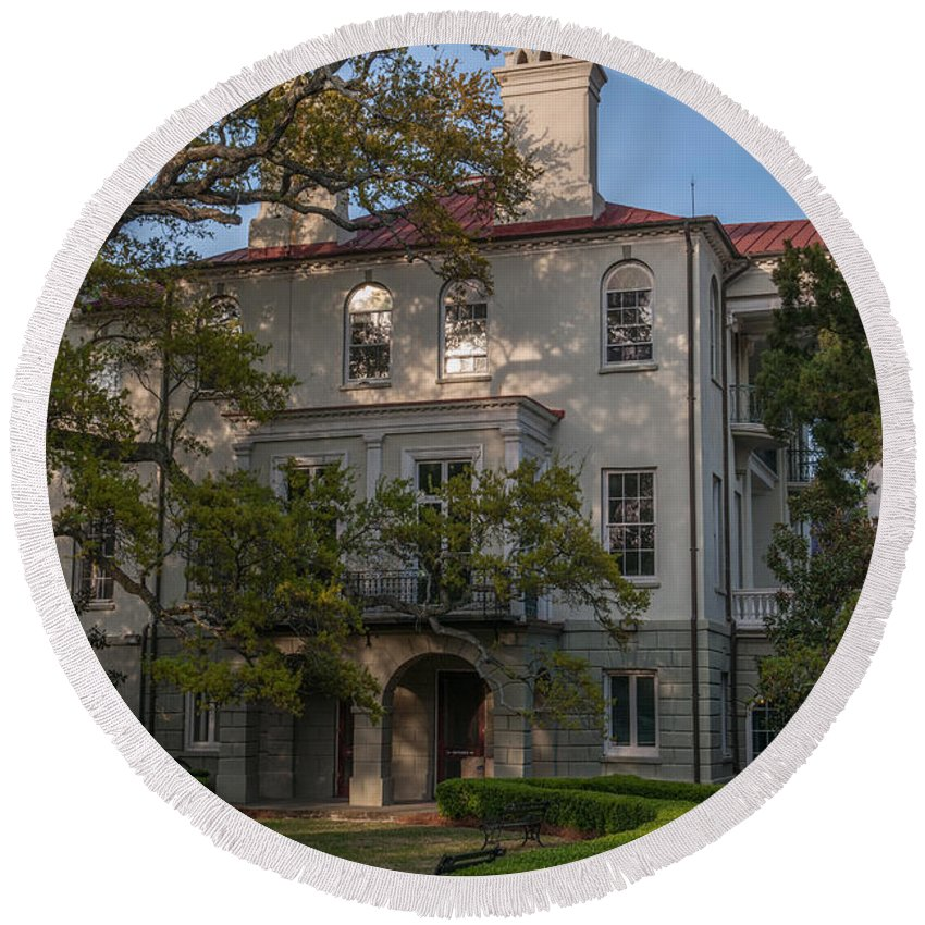 Ashley Hall School Round Beach Towel featuring the photograph Ashley Hall School In Charleston Sc by Dale Powell