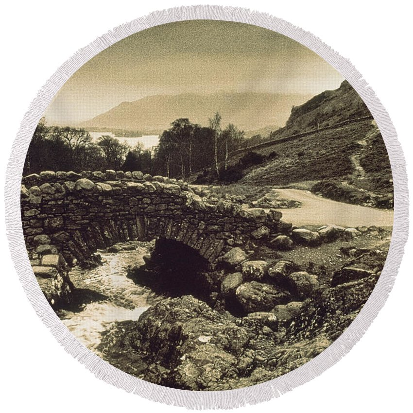 Photography Round Beach Towel featuring the photograph Ashness Bridge Cumbria England by Panoramic Images