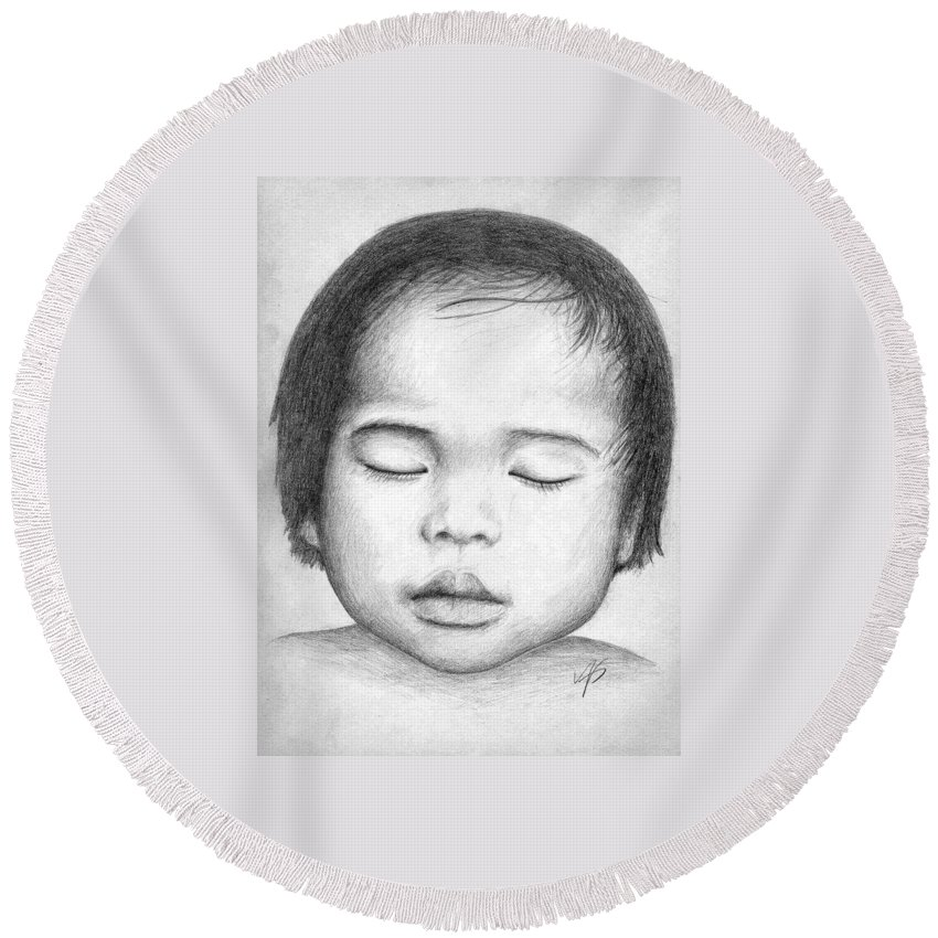 Baby Round Beach Towel featuring the drawing Asian Baby by Nicole Zeug