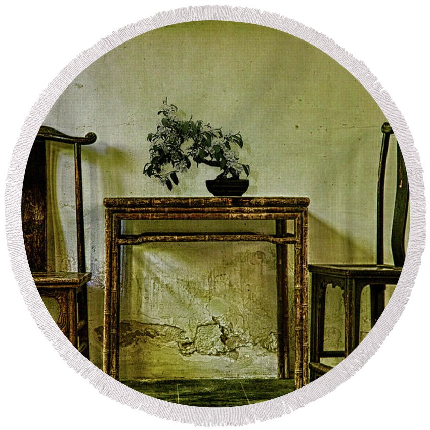 Asian Round Beach Towel featuring the photograph Asian Furniture And Bonsai by Chris Lord