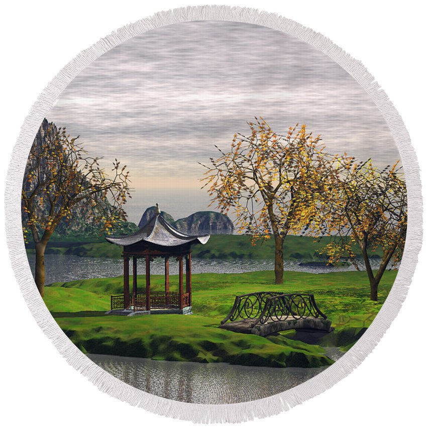 Landscape Round Beach Towel featuring the digital art Asian Landscape by John Junek