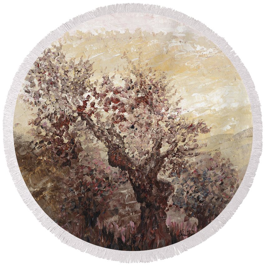 Landscape Round Beach Towel featuring the painting Asian Mist by Nadine Rippelmeyer