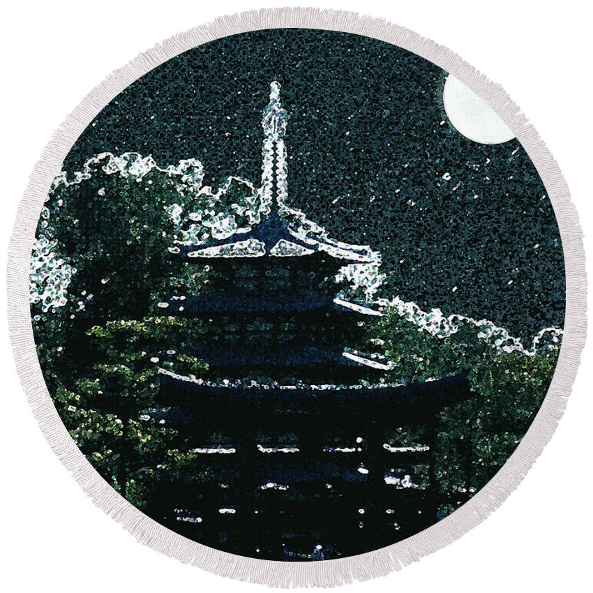 Full Moon Round Beach Towel featuring the mixed media Asian Moon by Shirley Heyn