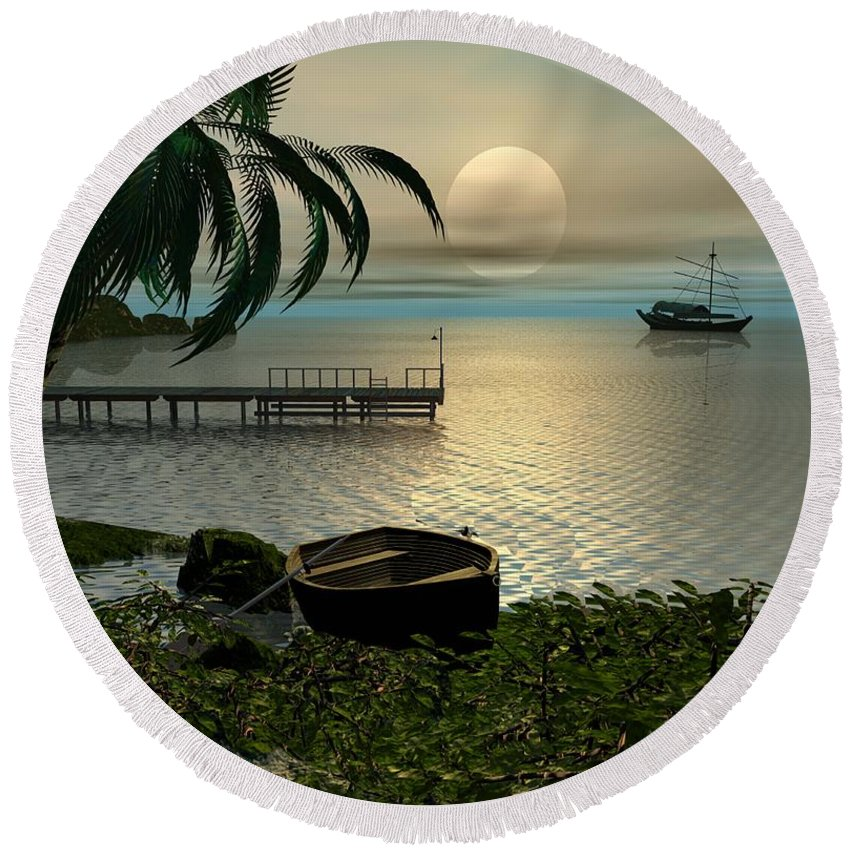 Landscape Round Beach Towel featuring the digital art Asian Sunset Scene by John Junek