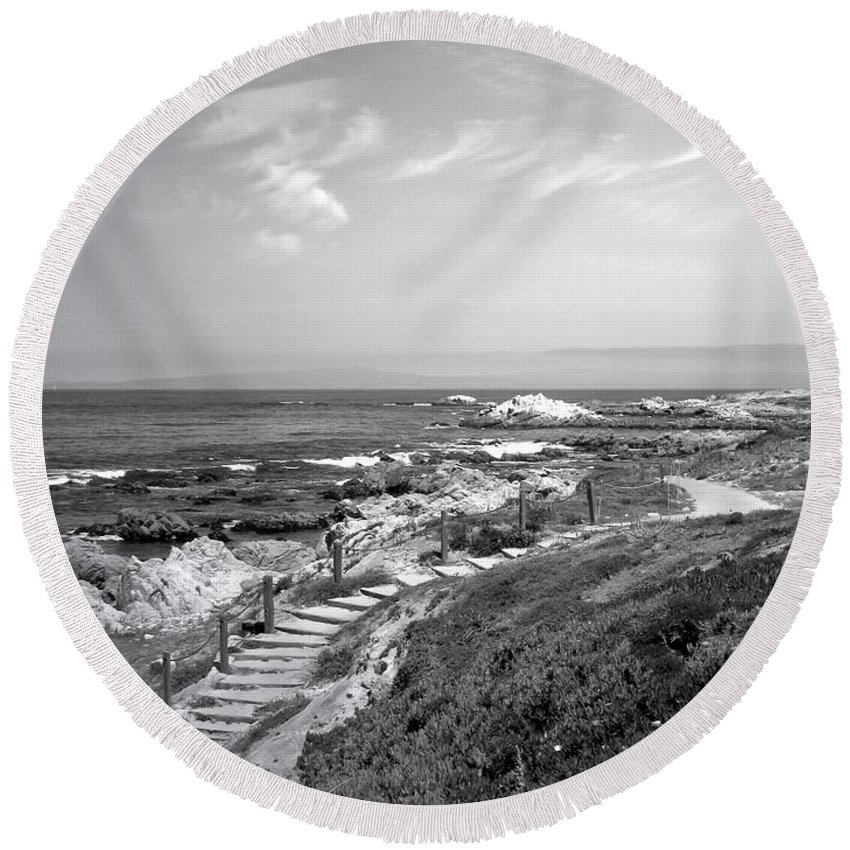 B&w Round Beach Towel featuring the photograph Asilomar Beach Stairway In Black And White by Joyce Dickens