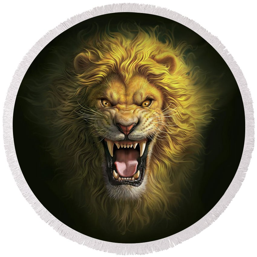 Scary Squeeze Stuffed Animals, Aslan Round Beach Towel For Sale By Mark Fredrickson