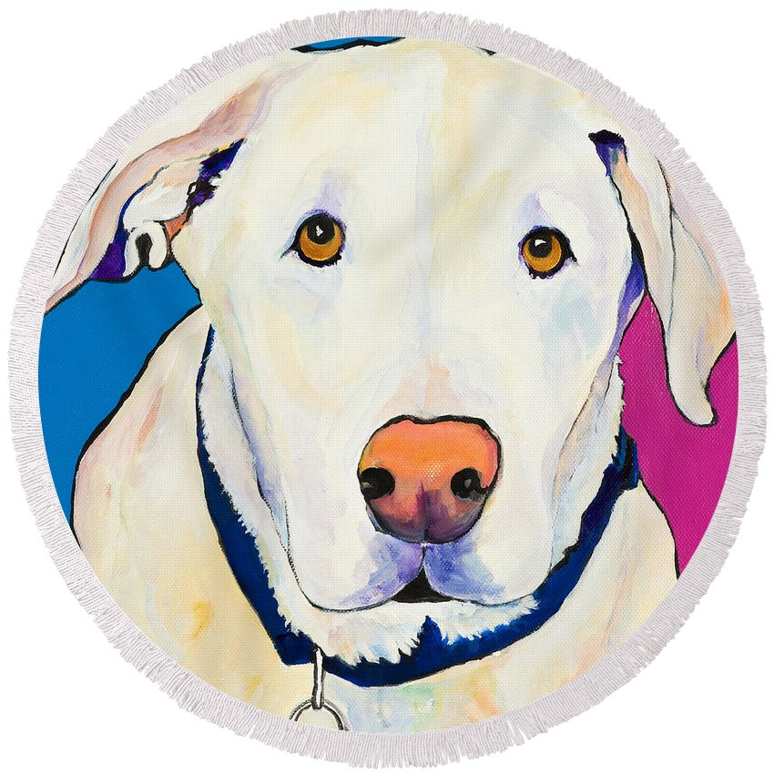 White Lab Yellow Lab Animal Paintings Golden Eyes Square Format Dogs Pets Rescued Round Beach Towel featuring the painting Aslinn by Pat Saunders-White