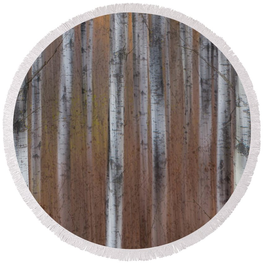 Trees Round Beach Towel featuring the photograph Aspen Abstract Vertical by Patti Deters