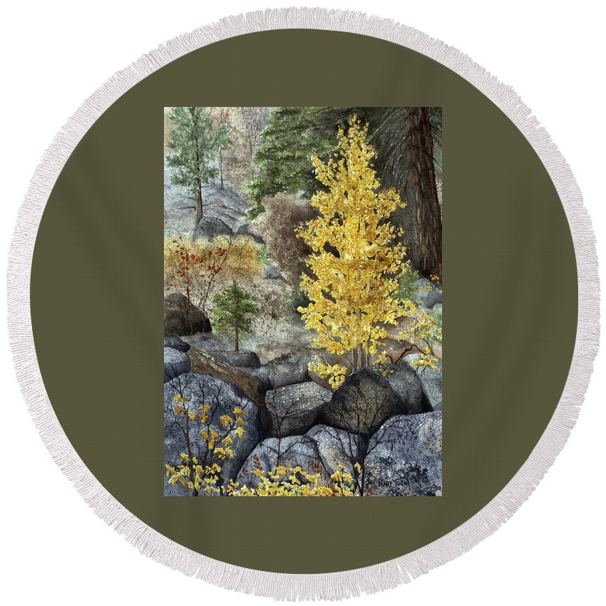 Autumn Round Beach Towel featuring the painting Aspen Gold by Mary Tuomi