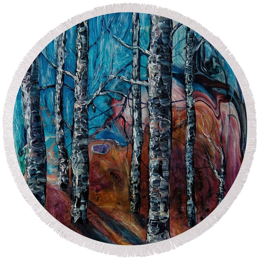 Lena Owens Painting Round Beach Towel featuring the painting Aspen Grove - 2 by OLena Art Brand