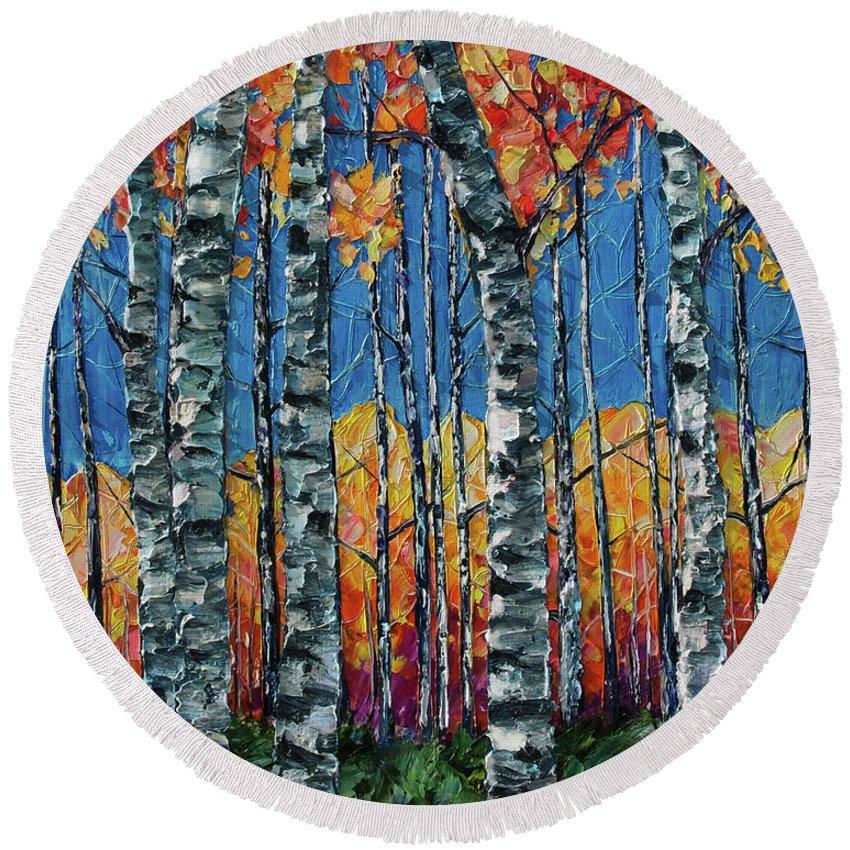 Aspen Grove Round Beach Towel featuring the painting Aspen Grove By Olena Art by OLena Art Brand