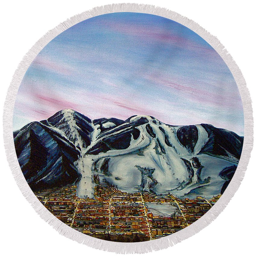 Aspen Round Beach Towel featuring the painting Aspen by Jerome Stumphauzer