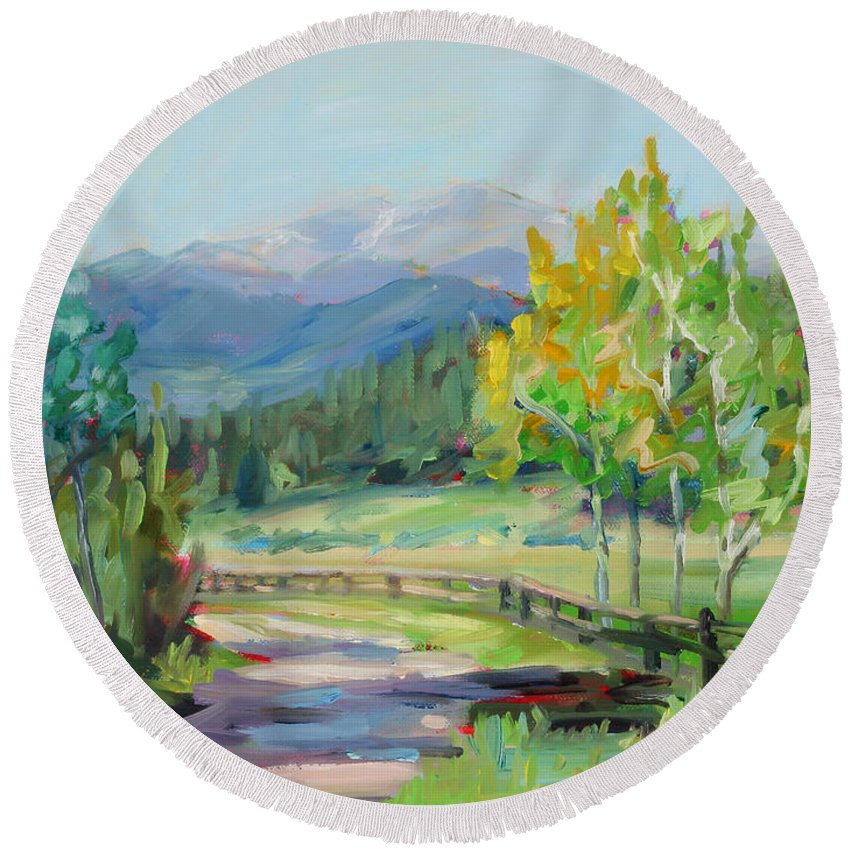Rocky Mountains Round Beach Towel featuring the painting Aspen Lane by Marie Massey