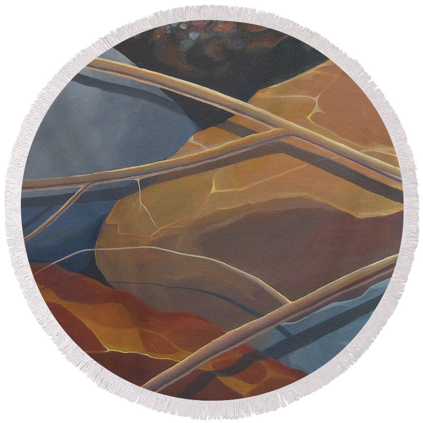 Branch Round Beach Towel featuring the painting Aspen Rain Branch2 by Hunter Jay