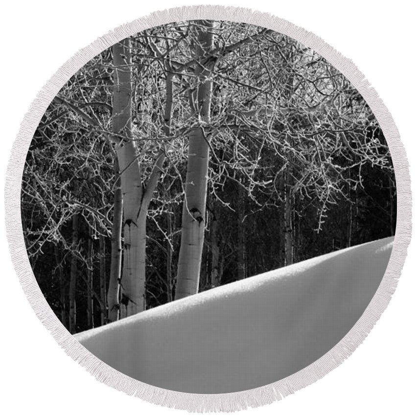 Colorado Round Beach Towel featuring the photograph Aspencade by Skip Hunt