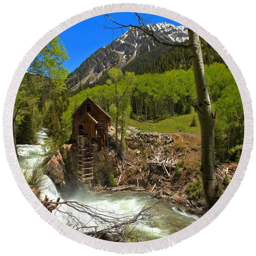 Crystal Mill Round Beach Towel featuring the photograph Aspens Around The Crystal Mill by Adam Jewell