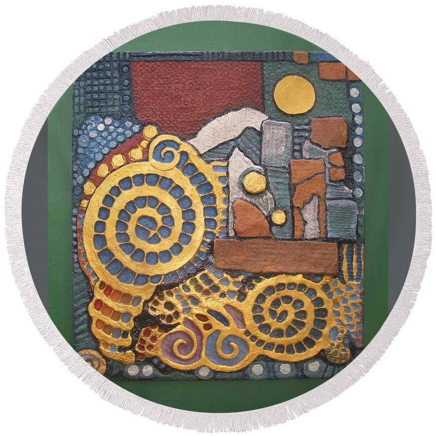 Otil Rotcods Papier Mache Artworks.otil Rotcods Handmade Paper Artworks With Embellishment.otil Rotcods Abstract Round Beach Towel featuring the mixed media Aspirations by Otil Rotcod