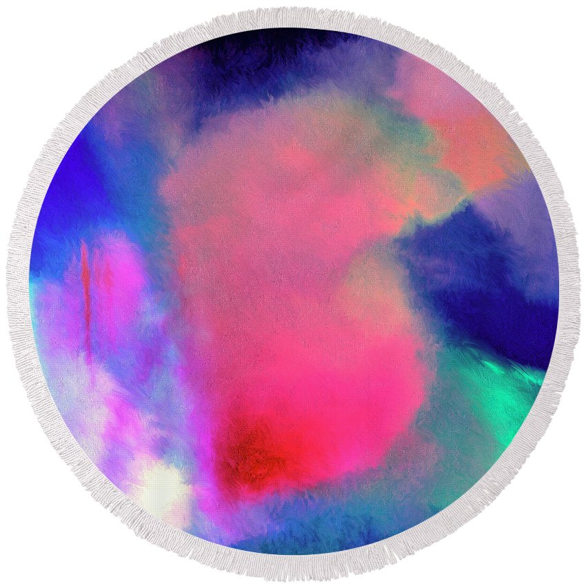 Abstract Round Beach Towel featuring the painting Aspire by Dominic Piperata