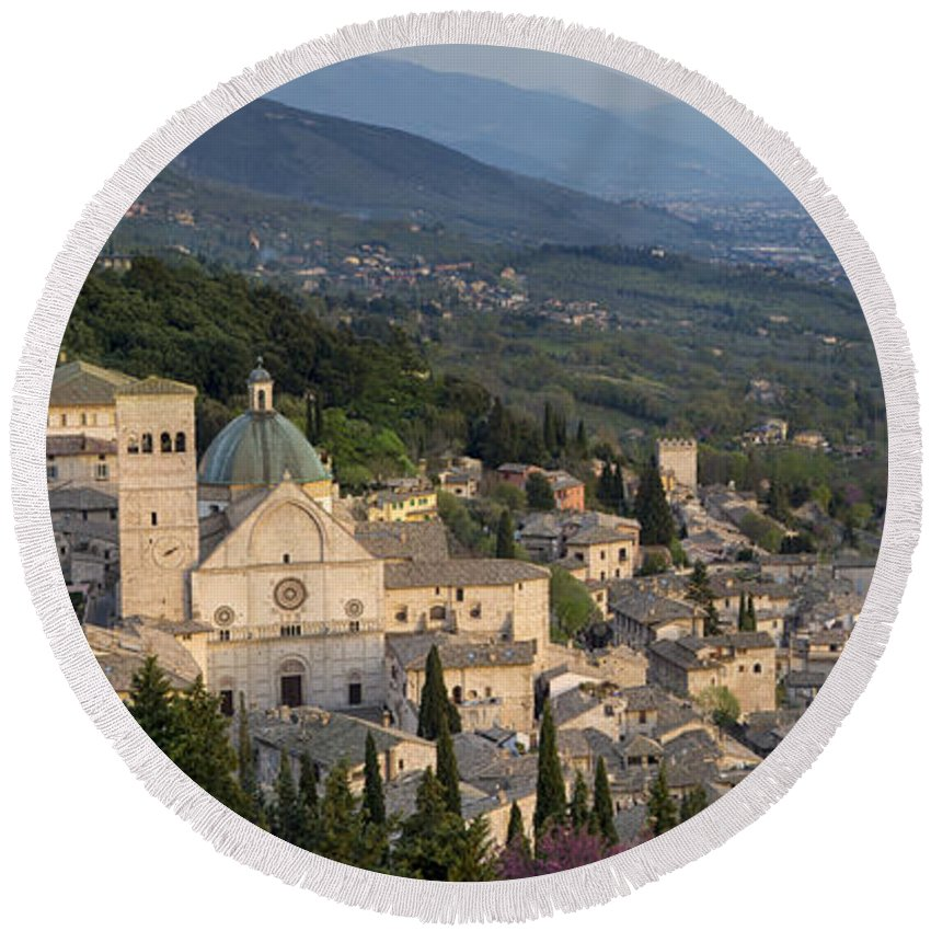 Above Round Beach Towel featuring the photograph Assisi Pano by Brian Jannsen