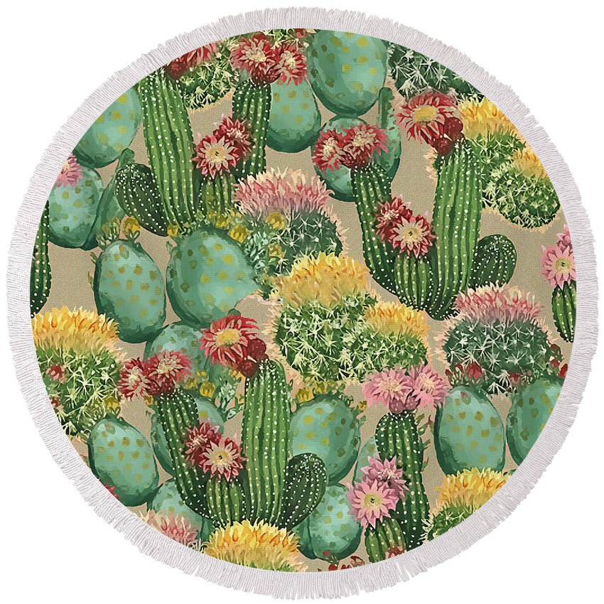 Plants Round Beach Towel featuring the painting Assorted Blooming Cactus Plants by Elaine Plesser