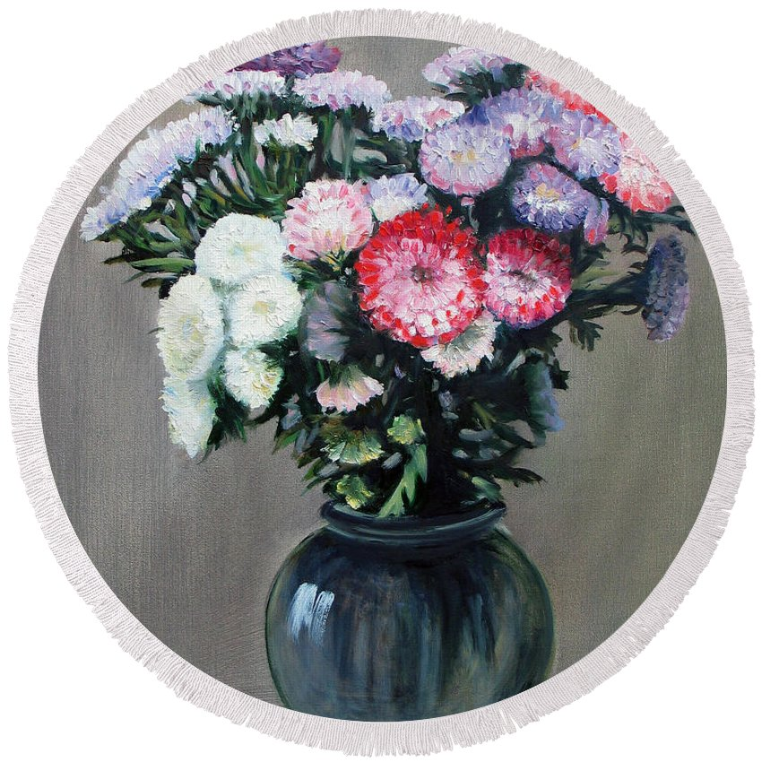 Flowers Round Beach Towel featuring the painting Asters by Paul Walsh