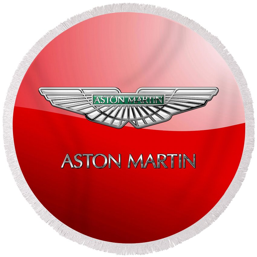 Wheels Of Fortune� Collection By Serge Averbukh Round Beach Towel featuring the photograph Aston Martin - 3 D Badge On Red by Serge Averbukh