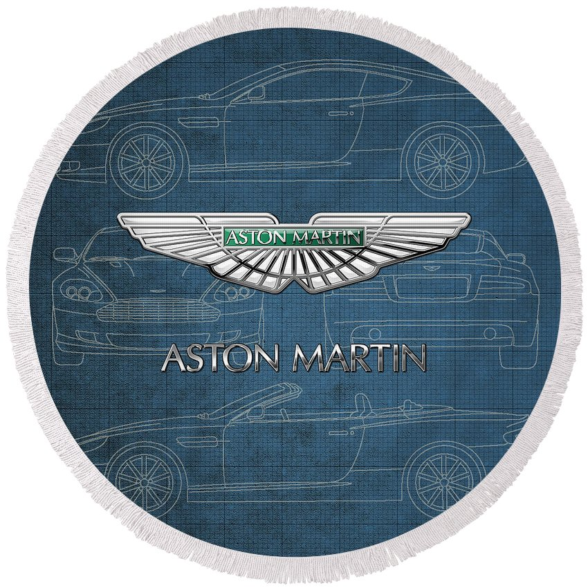 Wheels Of Fortune By Serge Averbukh Round Beach Towel featuring the photograph Aston Martin 3 D Badge over Aston Martin D B 9 Blueprint by Serge Averbukh