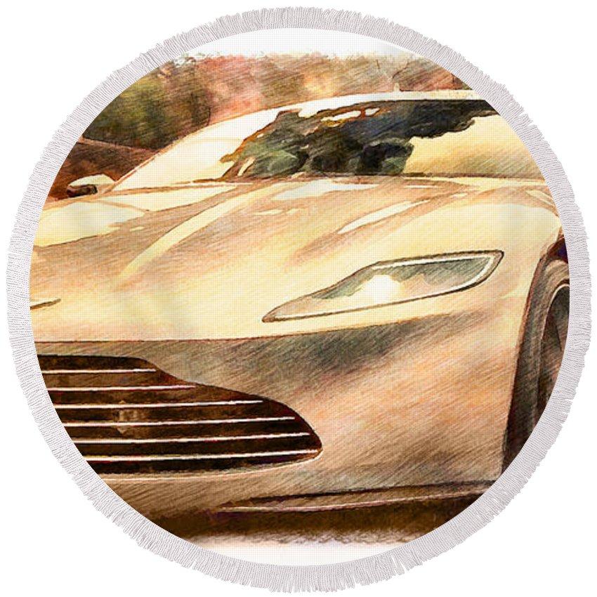 Aston Martin Round Beach Towel featuring the photograph Aston Martin Db10 by Sergey Lukashin