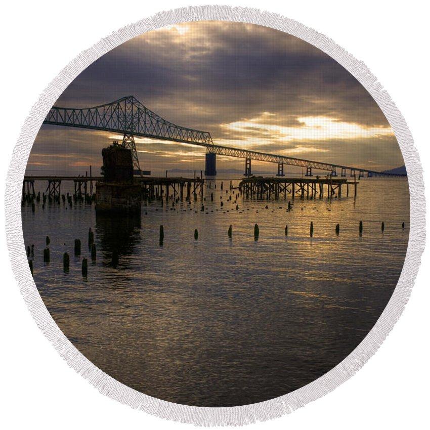 Landscape Round Beach Towel featuring the photograph Astoria-megler Bridge 2 by Lee Santa