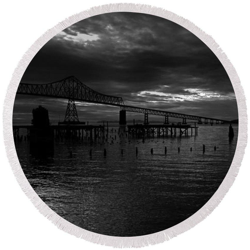 Landscape Round Beach Towel featuring the photograph Astoria-megler Bridge 4 by Lee Santa