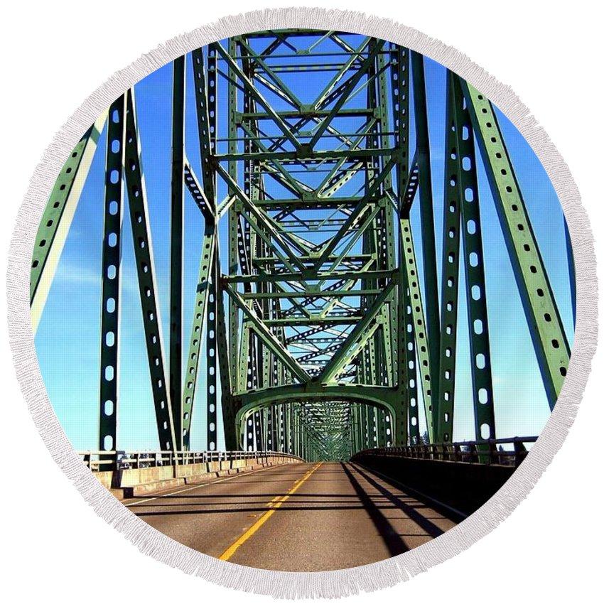 Bridge Round Beach Towel featuring the photograph Astoria-megler Bridge by Will Borden