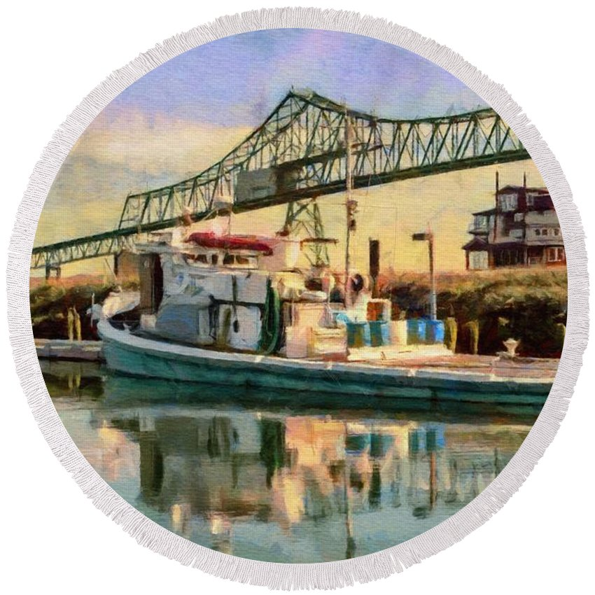 Morning Round Beach Towel featuring the painting Astoria Waterfront, Scene 1 by Jeffrey Kolker