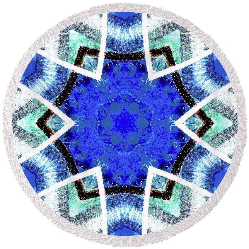 Blue Round Beach Towel featuring the digital art Astral Star Mandala by Ethel Mann