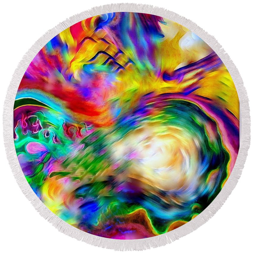 Abstract Round Beach Towel featuring the painting First Breath.. by Jolanta Anna Karolska